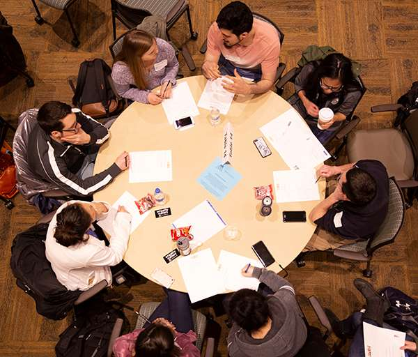 Design Thinking workshop; table view, Kern Institute