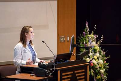Kristina Parthum, MCW medical student, shares thoughts at AGR Memorial Service