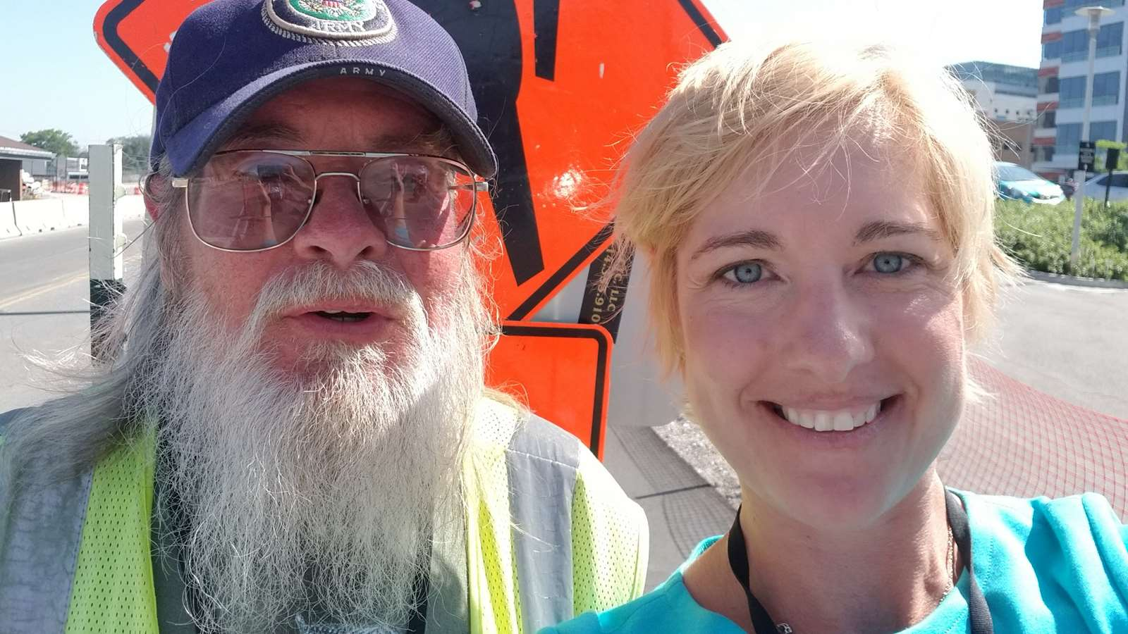John Kummer, MCW crossing guard and Dr. Nicole Lohr