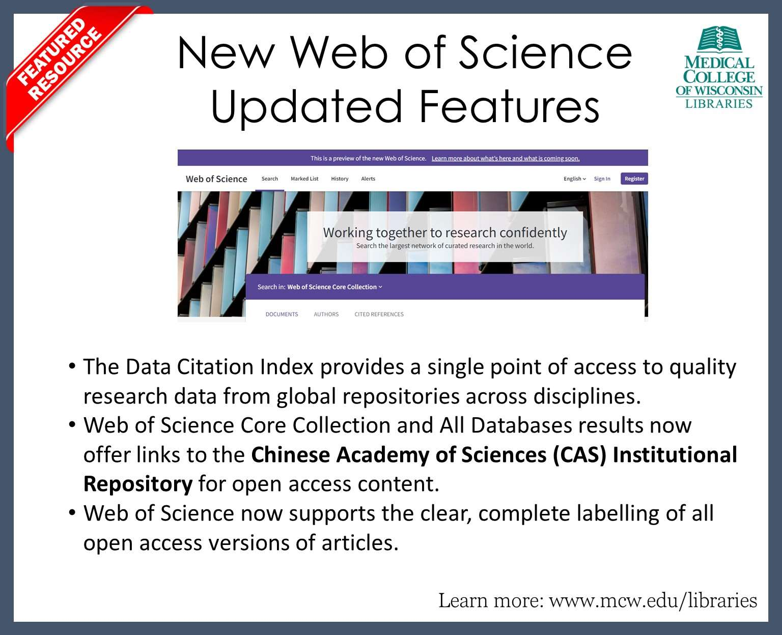 Find out more about Web of Science's updated features.