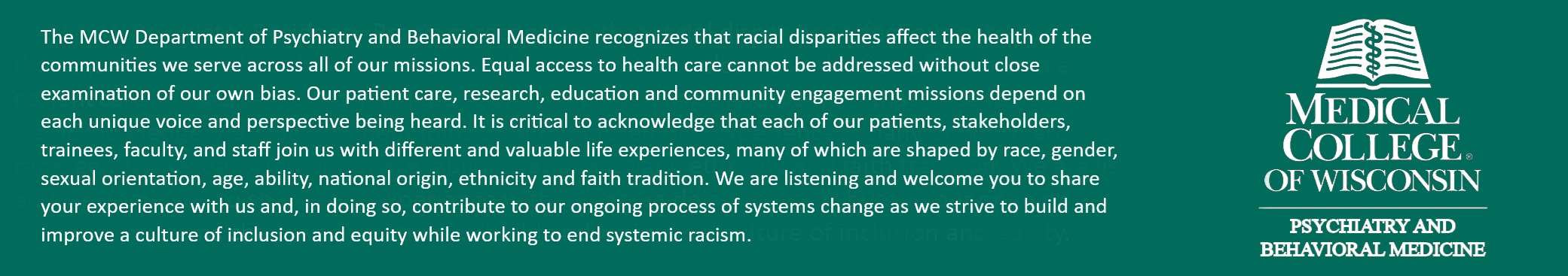 Department of Psychiatry Anti Racism Banner