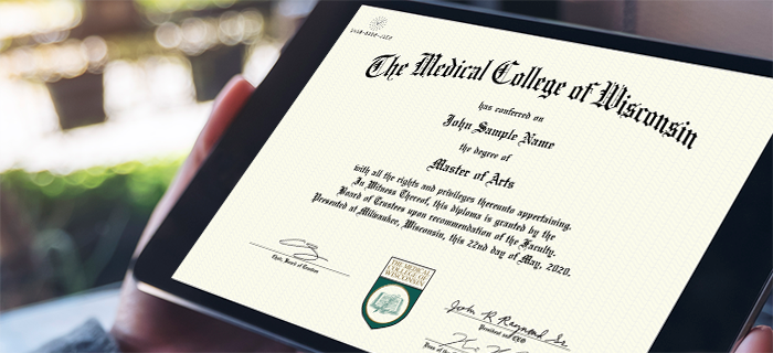 Medical College of Wisconsin sample diploma