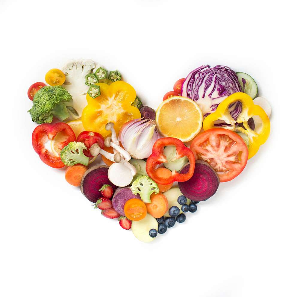 Fresh produce in heart shape