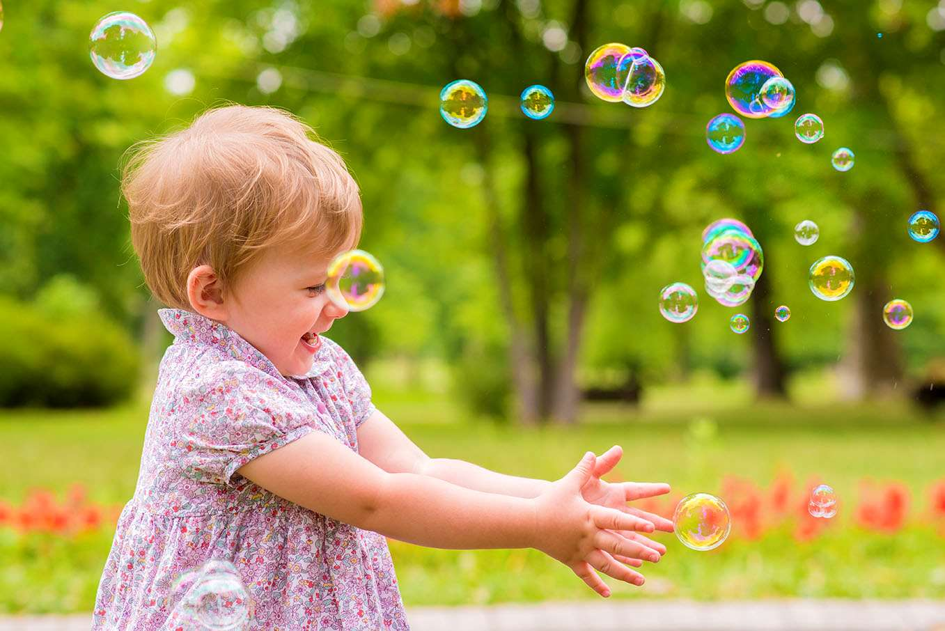 Young girl with bubbles